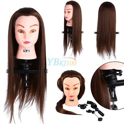 30% Human Hair Hairdressing Training Mannequin Practice Head Tools with Clamp