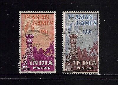 INDIA - 1951 First Asian Games, set of 2, used
