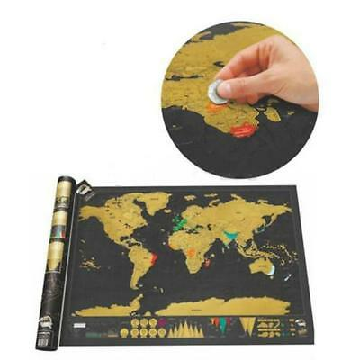 Scratch Off World Map Where You Travel Poster Layer Off Vacation Log Gift FW