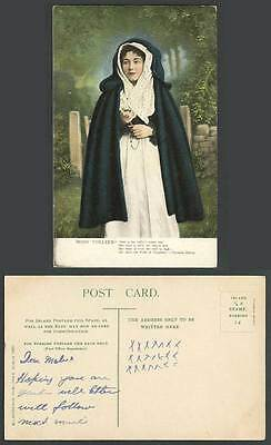 Ireland IRISH COLLEEN Woman Lady She's The Pride of Tipperary Old Color Postcard