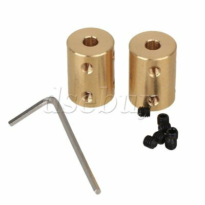 2pcs 5 x 8mm Brass Coupling Rigid Shaft Coupling Motor Accessories Golden Tone