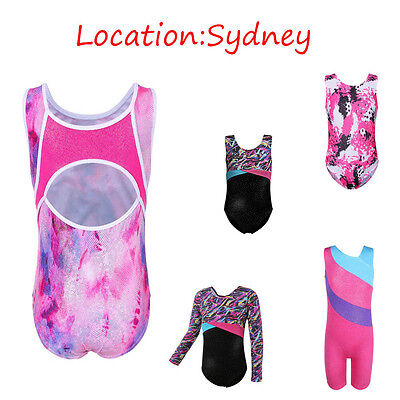 AU Warehouse Kid Shiny Gymnastics Leotard Girls Ballet Dance Stripes Costumes