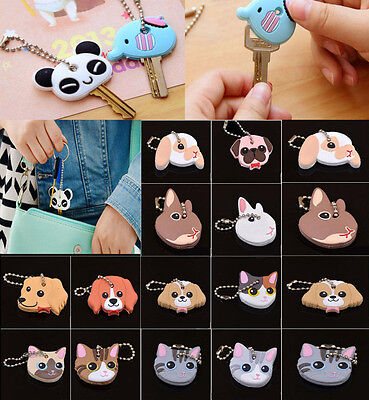 Soft Rubber Cute Pet Puppy Pug Cat Rabbit Key Cover Cap Case Keychain Key Ring A