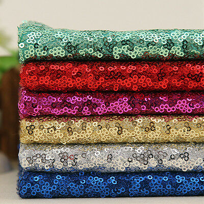3MM Sparkly Sequin Shiny Fabric Nylon Mesh Sew Stretch Dress Wedding Material