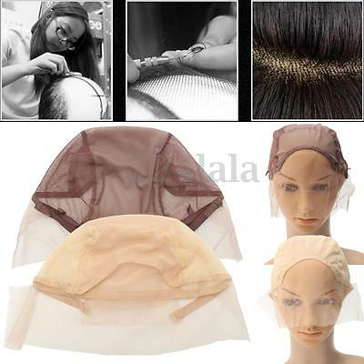 Lace Front Wig Cap for Wig Making Weave Cap Elastic Hair Net Brown Beige