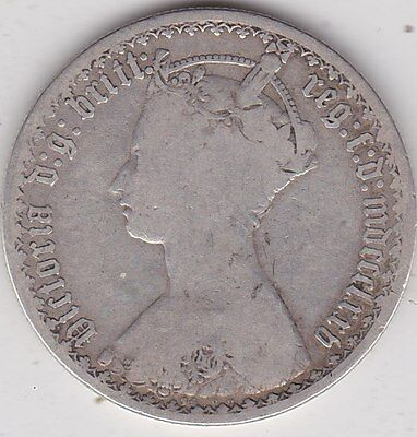 1875 Die Number 74 Victorian Silver Florin In A Well Used Fair Condition