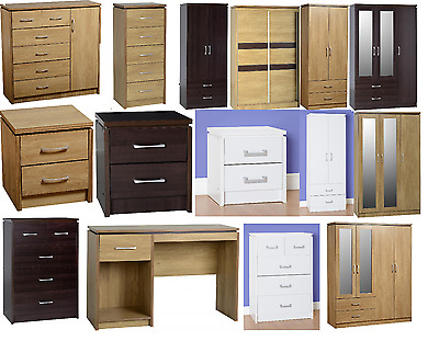 Seconique Charles Oak, White and Walnut Furniture Bedside, Chest, Wardrobes