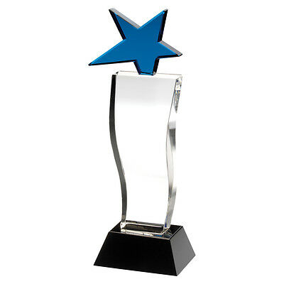 Glass block award with blue glass star supplied in box - engraved f.o.c.