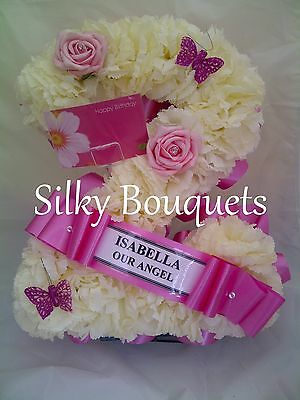 Artificial Silk Flower Funeral Single Number Letter Tribute Memorial Wreath Faux