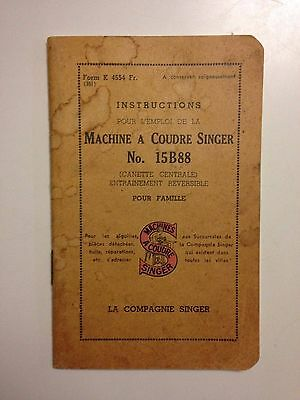 Instructions Machine A Coudre Singer N°15B88