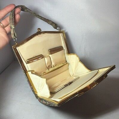 Vintage 30s 40s Evening Bag Purse with Compacts Vanity