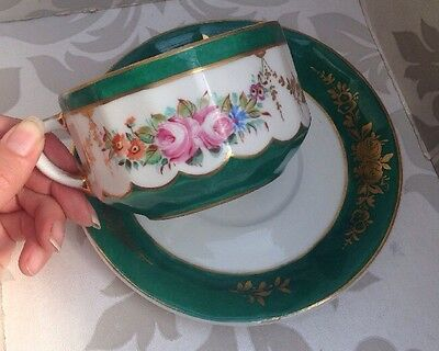 Charming Antique French Hand Painted Large Porcelain Cup and Saucer Vintage