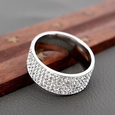 Gold Silver Couple Men/Women's Rings CZ Stainless Steel Wedding Band Ring