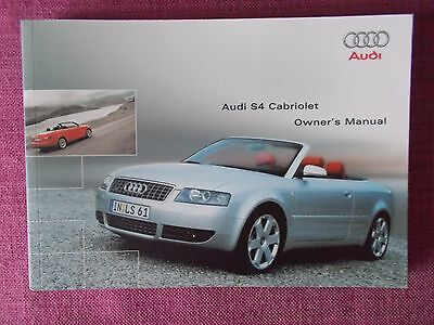 Audi S4 Cabriolet / Convertible (2004 - 2006) Handbook - Owners Guide (Au 563)