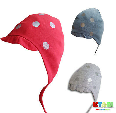 New Baby Girl Beautiful Spring/Autumn Cotton Hat Cap With Strings Dots 4-6months