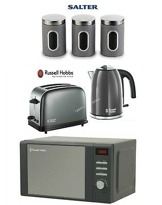 Russell Hobbs Colours Plus Kettle and Toaster Set & Microwave & Canisters - Grey