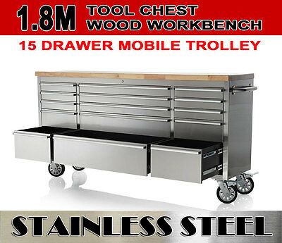 "72"" (1800mm) Stainless Steel Mechanic Tool Chest Garage workbench Tool trolley"