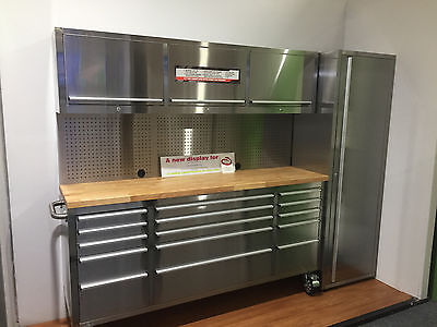 2.4m Stainless Steel Tool Chest workbench tool trolley storage cabinet Pegboard