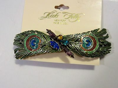 Kirks Folly Peacok Feather -Barrette-Nwt-