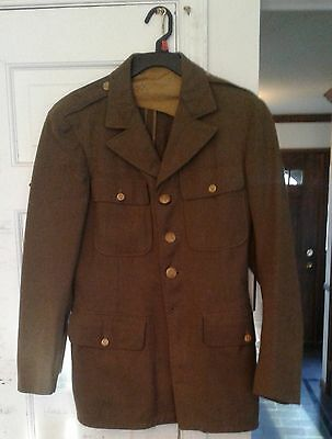 Vintage WW2 U.S. Army Enlisted Man's Dress Jacket Size 37R Original Owner