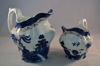 Vintage Booths Real Old Willow Set of Two Graduated Jugs A8025