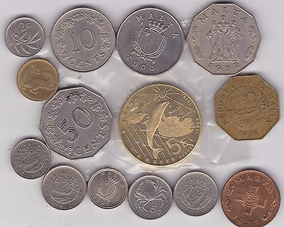 14 Coins From Malta Dated 1972 To 2004