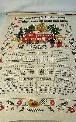 Vintage 1969 Linen Calendar Tea Towel Bless This House...  829