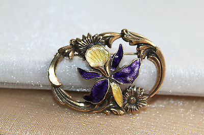 ART NOUVEAU Vintage GOLD GILT Brass & GUILLOCHE ENAMEL Floral Brooch Pin