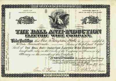 The Ball Anti Induction Electric Wire Company 1882 Camden New Jersey Parson 100