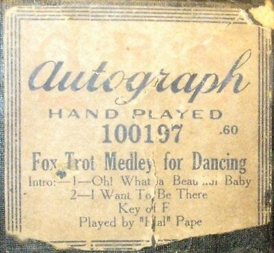 Fox Trot Medley For Dancing Original Old  Piano Roll