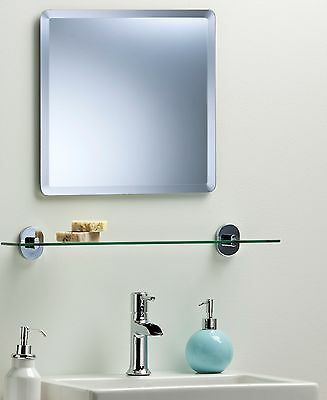 BATHROOM WALL MIRROR Simple Design SQUARE WITH BEVEL Frameless Plain