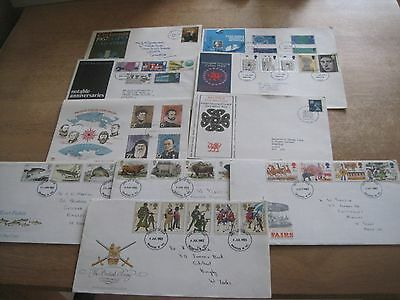 10 FIRST DAY COVERS 1967, 69, 72, 74, 83, 84, + misc postcards, beer mats etc.