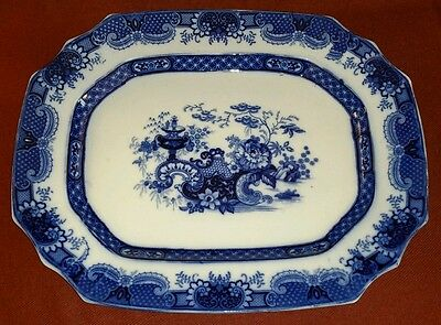 c.1843 STAFFORDSHIRE FLOW BLUE & WHITE PLATTER INDIAN JAR by J & T FURNIVAL 20""