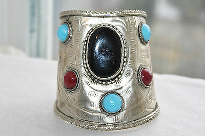 Huge Ethnic Tribal Vintage Coral Turquoise & Onyx Accent Silver Cuff Bracelet