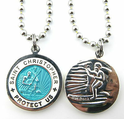 Saint Christopher Surf Medal Protector of Travel am-wh Aquamarine-White