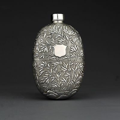Rare Ornate Chinese Export Solid Silver Hip Flask with Bamboo Decoration, 280g