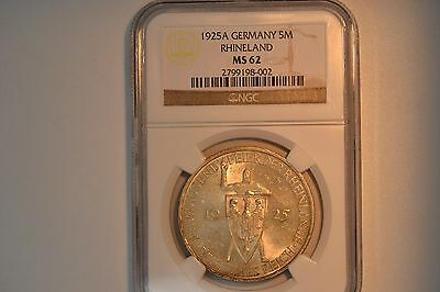 Germany- Weimar Republic: 1925-A 5 Mark- NGC MS-62
