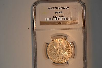 Germany- Federal Republic: 1956-F 5 Mark- NGC MS-64