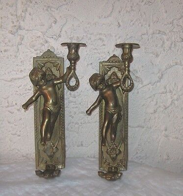 """""""Cherubs""""  Brass wall sconce pair Ready to hang hold candles heavy Brass"""