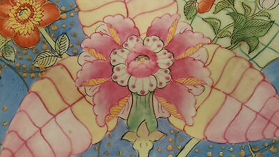 """14"""" QING antique tobacco leaf Chinese plate pottery porcelain rose famille bowl"""