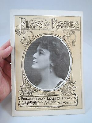 Vintage 1915 Theater Program Plays and Players Philadelphia Virginia Pearson Cvr