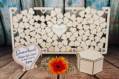 Personalised Wedding Guestbook Clear Frame Wooden Heart Dropbox, Alternative