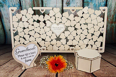 Personalised Wedding Guestbook Frame Wooden Heart Dropbox, Alternative Drop Box