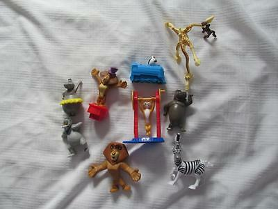 2008 2012 Mcdonalds MADAGASCAR Movie lot 9 figures DREAMWORKS ALEX GLORIA MELMAN