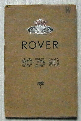 ROVER 60 - 75 - 90 Car Owners Instructions Handbook 1953 #TP/161/B