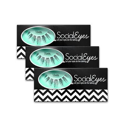 SocialEyes Vixen Lashes Natural Fake False Eyelashe Eye Lashes Black 3 Packs