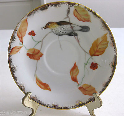 "Vtg Lefton China Hand-Painted Porcelain Saucer Cardinal Gold ""Thrush"""