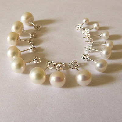 Multi sizes cultured freshwater white pearl stud earrings 925 silver 4mm-10mm
