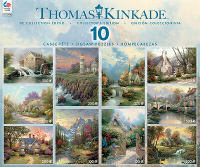 10 in 1 Deluxe Thomas Kinkade Jigsaw Puzzle Set - Collector's Edition