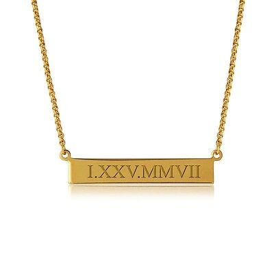 Bar Necklace Engraved Roman Numeral in gold plated Sterling Silver necklace